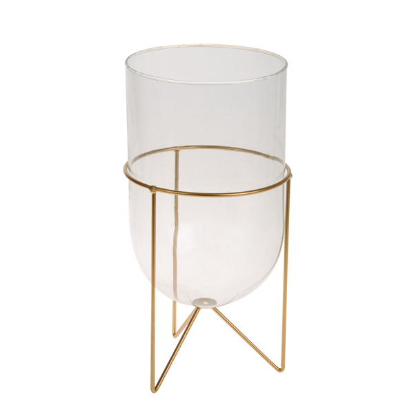 Picture of Glass open terrarium on gold stand