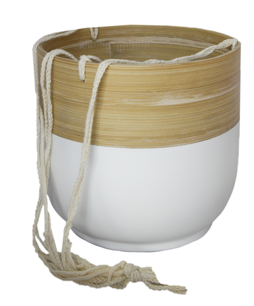 Picture of Bamboo hanging pot - white