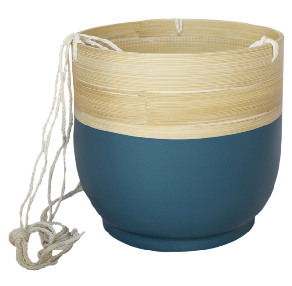 Picture of Bamboo hanging pot - teal