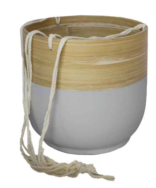 Picture of Bamboo hanging pot - grey