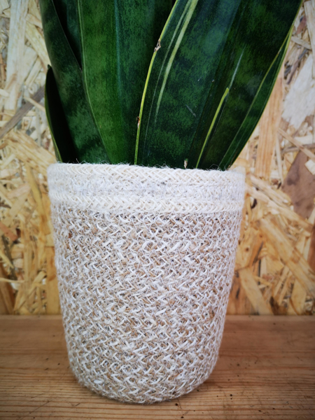 Picture of Lined jute pot - white